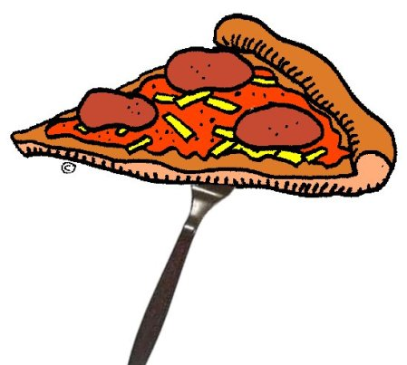 Balancing pizza on a fork.